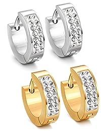 Jstyle Stainless Steel Womens Mens Hoop Earrings Huggie Earrings CZ Piercings Hypoallergenic 18G