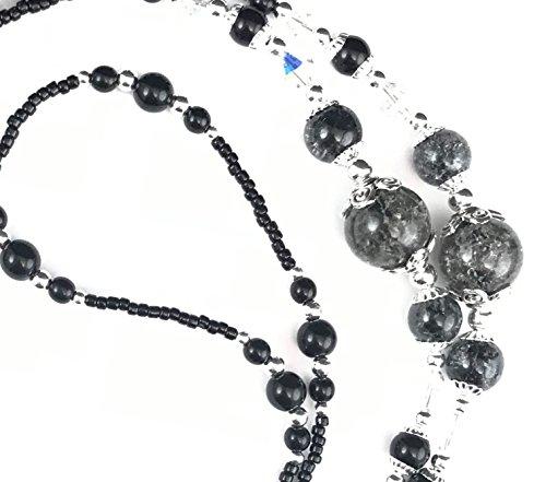 Beaded Lanyard~Black Crackle~Swarovski Crystal~Badge ID Holder (Lanyards Christmas Beaded)