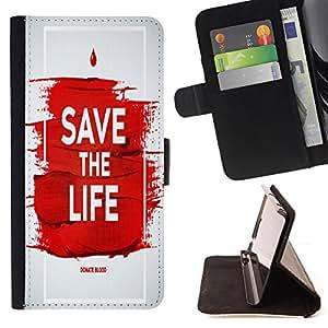 King Case - FOR HTC Desire 820 - save the life - Prima caja de la PU billetera de cuero con ranuras para tarjetas, efectivo Compartimiento desmontable y correa para la mu?eca