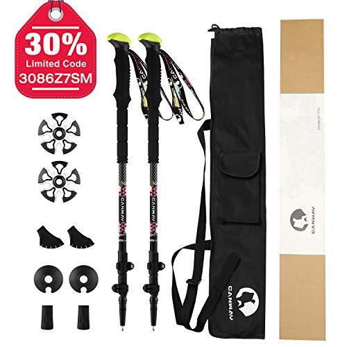 s, Lightweight Carbon Fiber 7 oz ea, Camera Mount, Shock-Absorbent, Quick Locks, Quick-Dry Wrist Straps, Walking/Hiking Sticks for Women Men Kids ()