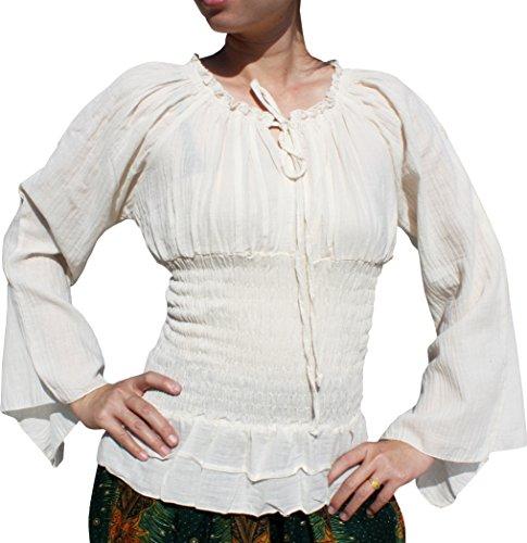 Svenine Travelling Gypsy Dancing Troupe Shirt In Plain Light Cotton Long Sleeve, Medium, (Women In The Renaissance)