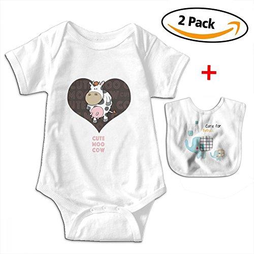 POOPEDD Cute Moo Cow Unisex Baby Short Sleeve Onesies ONE-PIECE SUIT by POOPEDD