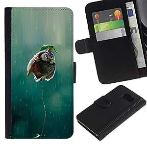 All Phone Most Case / Oferta Especial Cáscara Funda de cuero Monedero Cubierta de proteccion Caso / Wallet Case for Samsung Galaxy S6 // búho lindo divertido lluvia naturaleza ave voladora