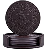 365park Coasters, PU Leather Drink Coasters Set of 6 with Holder Rose Embossed Coaster-Protect Furniture from Water Marks Fantastic (Z013-Coffee)