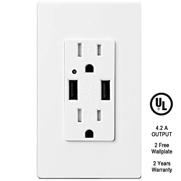 TOPELE High Speed USB Charger Outlet 42a USB Wall Charger Duplex