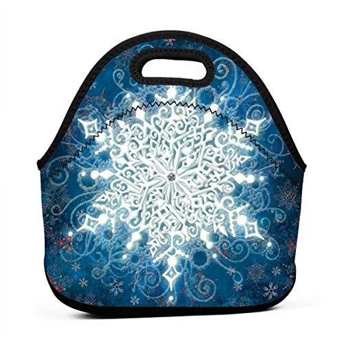 Sunmoonet Solo Snowflake Mini Lunch Tote Bag Reusable Lunch Box for Women Men and Kids