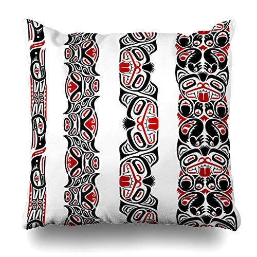 Pandarllin Throw Pillow Cover Created Red Native Haida Totem Pole American Pattern Indian Inuit Design Cushion Case Home Decor Design Square Size 16 x 16 Inches Pillowcase