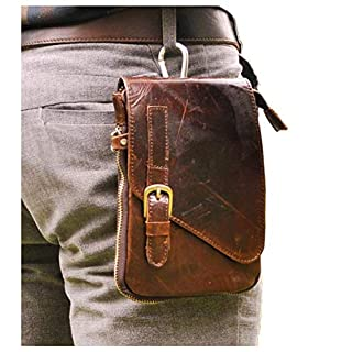 Le'aokuu Mens Genuine Leather Small Messenger Shoulder Satchel Phone Pouch Belt Fanny Waist Bag Pack 6402