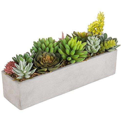 (MyGift Faux Succulent Plant Arrangement in 12-Inch Gray Cement Pot)