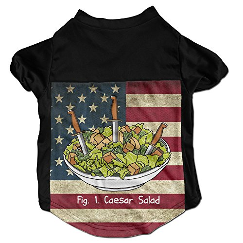 [Caesar Salad Sword Costumes, Clothing, Shirt, Vest, T-shirt, Puppy Pet Dog Cat Fashion 100% Polyester Fiber Tee Gift For Any Animal Fan Lovers Black] (Caesar Salad Costume)