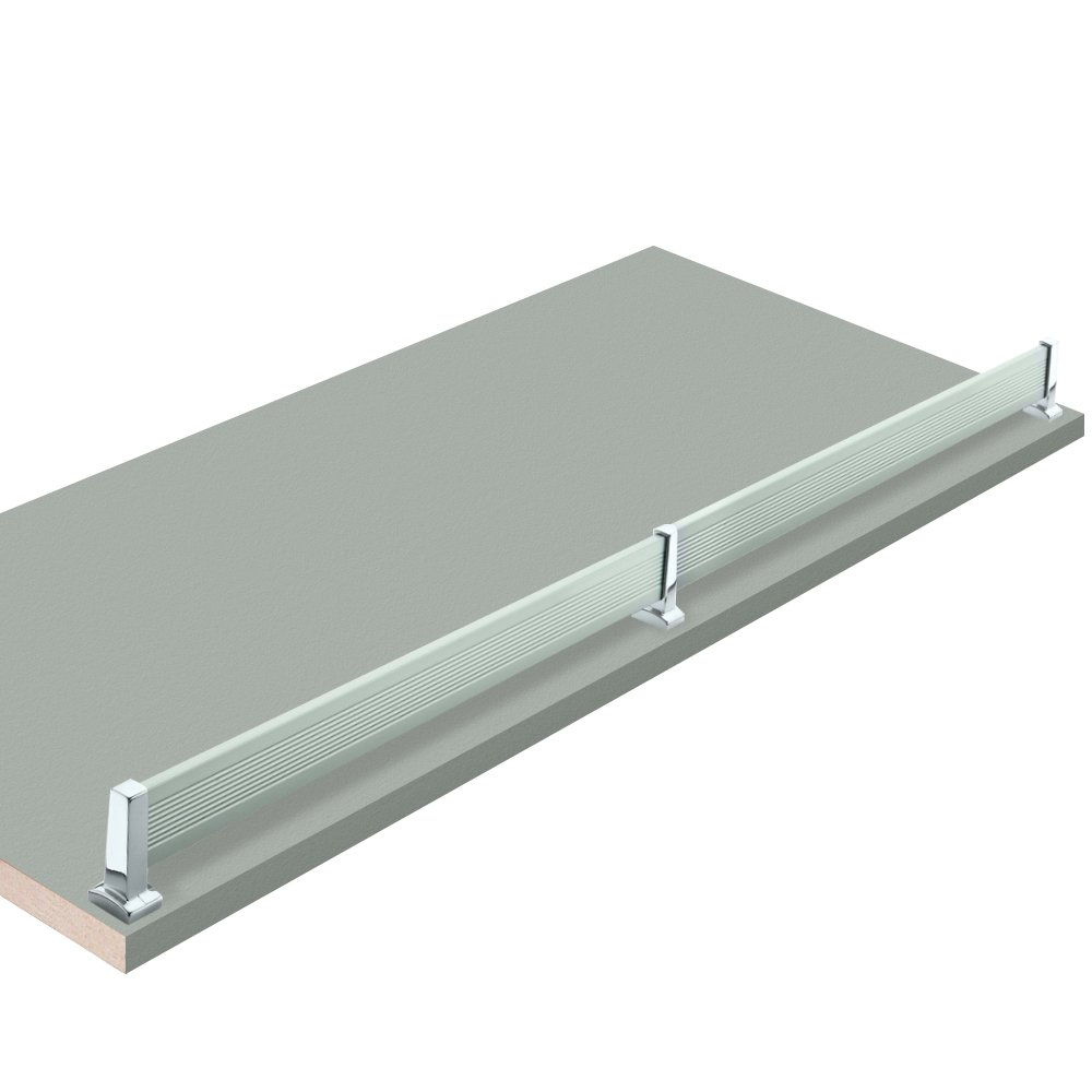 18'' W x 23'' L, Fog Grey Closet Shelves with aluminum shoe fence and PVC Edge Banding in front - CHOOSE YOUR SIZE - 2 Pack