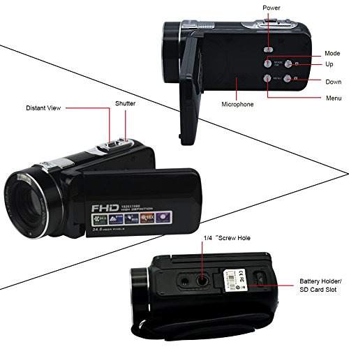 "Camcorder Video Camera Full HD 1080P 24.0MP Digital Camera 18x Digital Zoom 2.7"" LCD with Wide Angle Close-up Lens Camcorder Video Camera Full HD 1080P 24.0MP Digital Camera 18x Digital Zoom 2.7″ LCD with Wide Angle Close-up Lens 516ZXvjQDGL"