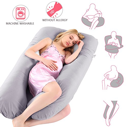 Ylovetoys Pregnancy Pillow, U Shaped Pregnant Full Body Pillow Nursing Cushion with Washable Cover (Grey)