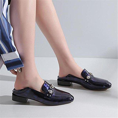 Appartement Talons Flâneurs Noir 35To41 Taille Black Chaussures pour Cuir verni fermés femmes blanc Y8SwwO0qgI