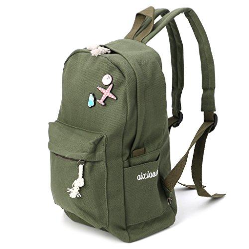 borse tela Army Green Tela moneta scuola in borsa tracolla zaino donne a pezzi Beige 24x4 10 Backpack zaino 26x11x39cm 33x15 viaggio da 35 Lamdoo qgPOfw