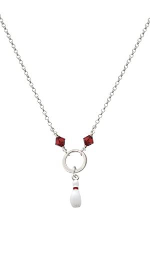 Bowling Pin - Maroon Eternity Circle Necklace