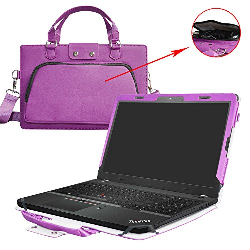(ThinkPad E560 Case,2 in 1 Accurately Designed Protective PU Leather Cover + Portable Carrying Bag for 15.6