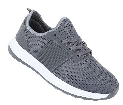 Herren Schuhe Sneaker Schnürer Freizeitschuhe Modell Nr.2 Grau