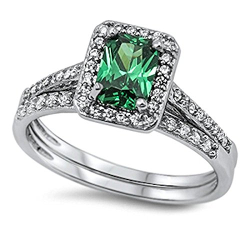 (Blue Apple Co. Halo Wedding Engagement Band Ring Emerald Cut Simulated Green Emerald Round CZ 925 Sterling)