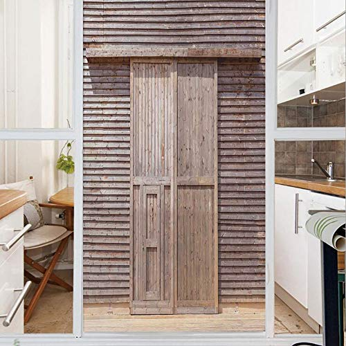Decorative Window Film,No Glue Frosted Privacy Film,Stained Glass Door Film,Old Wooden Timber Oak Barn Door Farmhouse Countryside Rural House Village Artsy Print,for Home & Office,23.6In. by 35.4In Br