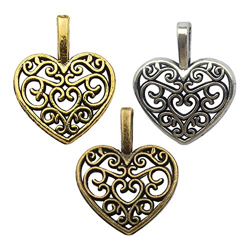 Youdiyla 120pcs Love Heart Charms Collection, Mix Filigree Heart Peach Metal Pendant Craft Supplies Findings for Necklace and Bracelet Jewelry Making (Mix-HM251)