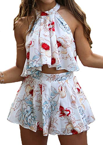 2 Two Piece Dress Rompers for Women Beach Outfits Summer Set Crop Top with Shorts (Floral 5, ()