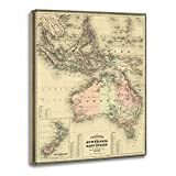 TORASS Canvas Wall Art Print Travel 1867 Australia and East Vintage Map Indonesia Artwork for Home Decor 12'' x 16''