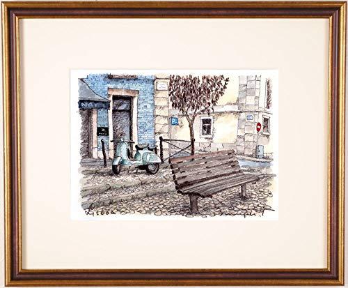 高橋文平 「路地裏のベスパ」 水彩画 絵画 風景画 ポルトガル リスボン 額付き