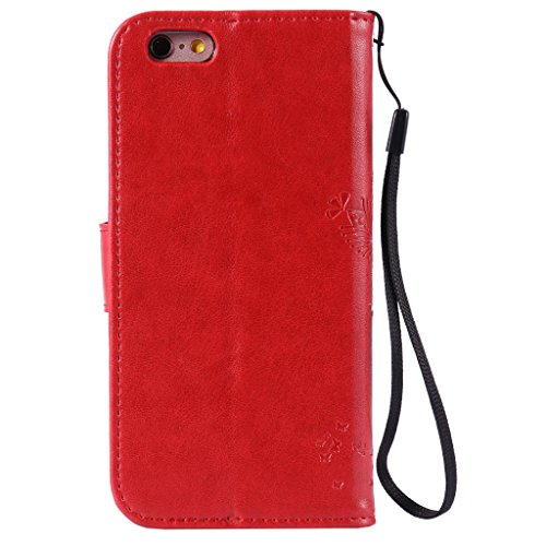 iPhone 5 / 5S / SE Schutzhülle , LH® (Rot Kontext) Schmetterling Baum Flip PU Ledertasche Ständer Schale Tasche Hülle Case Cover mit Kreditkartensteckplätze für Apple iPhone 5 / 5S / SE