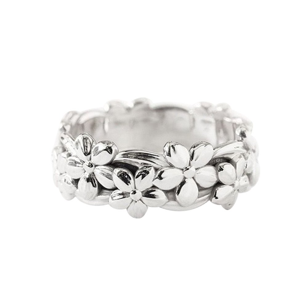 Haluoo 925 Sterling Silver Ring, Retro Daisy Summer Flower Engagement Ring Plum Blossom Eternity Wedding Band Finger Rings Size 5-10 (7, Silver)