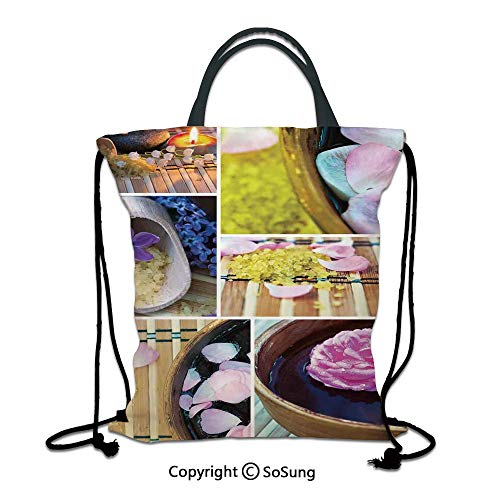 Spa 3D Print Drawstring Bag String Backpack,Spa Organic Cosmetics Theme Wooden Bowl Petals Lavender Candle Pebbles Therapy Oil,for Travel Gym School Beach Shopping,Purple Brown ()