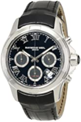 """Raymond Weil Men's 7260-STC-00208 """"Parsifal"""" Stainless Steel Watch with Black Leather Band"""