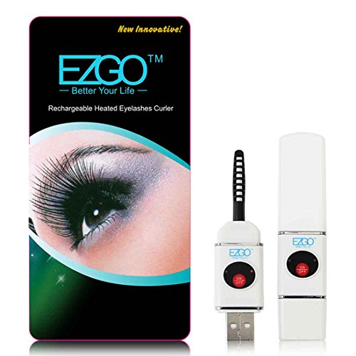 EZGO Professional Rechargeable Heated Eyelash Curler with Comb Design-Pinch & Pain Free-Complete,Best for Curling & Styling Your Eyelashes