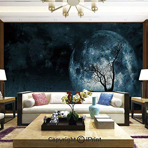 Lionpapa_mural Removable Wall Mural | Self-Adhesive Large Wallpaper,Night Moon Sky with Tree Silhouette Gothic Halloween Colors Scary Artsy Background,Home Decor - 66x96 inches -