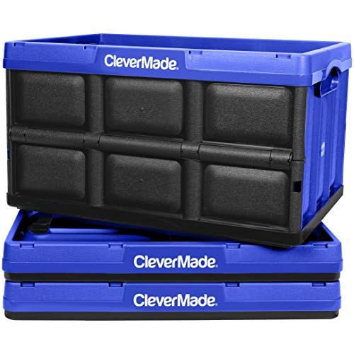 CleverMade 46L Collapsible Storage Bins - Durable Plastic Folding Utility Crates, Solid Wall Stackable Containers for Home & Garage Organization, Royal Blue, 3 Pack (Insta Totes)
