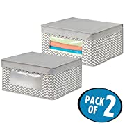 mDesign Soft Stackable Fabric Closet Storage Organizer Holder Box - Clear Window, Attached Hinged Lid, for Bedroom, Hallway, Entryway – Fun Zig Zag Chevron Pattern - Medium, Pack of 2, Taupe/Natural