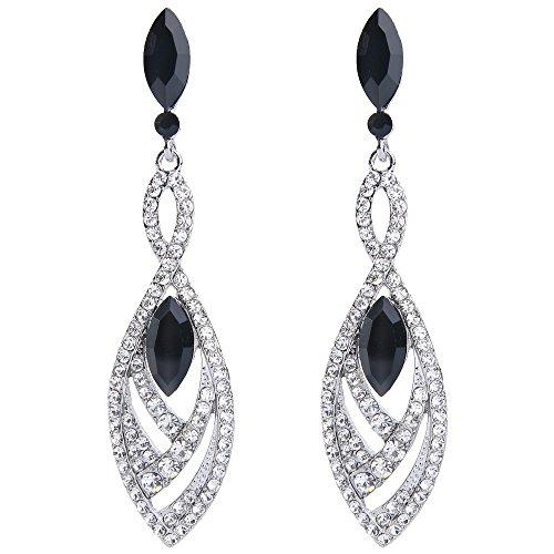 - BriLove Fashion Dangle Earrings for Women Crystal Gorgeous Twisted Dual Teardrop Chandelier Earrings Black w/Clear Silver-Tone