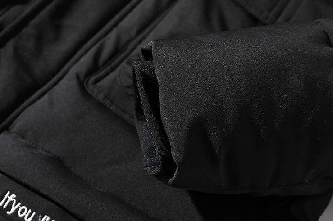 XQS Men Fashion Zipper Thicken Hooded Warm Parka Overcoat Down Jacket