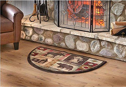 Wildlife Bear Moose Hearth Rug Fire Resistant, Flame Retardant Material, Protects Floor Around Fireplace, Hunting Themed Half Moon Mat, Use at Cabin (Half Moon Fireplace Rug compare prices)