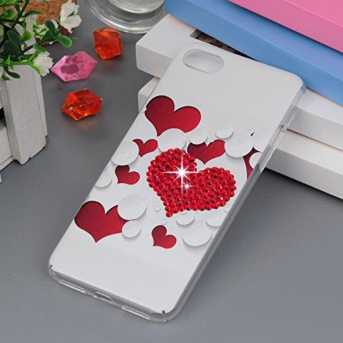"Maviss Diary iPhone 7 Case (4.7"") / iPhone 8 Case 3D Handmade Bling Red Diamonds Love Hearts Crystal Clear Hard PC Case Shiny Sparkling Rhinestones Gems Slim-Fit Bumper Lightweight Full Edge Cover"