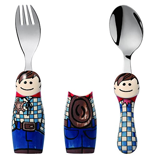 Eat4Fun Duo Collection Kids Fork & Spoon, Cowboy by Eat4Fun