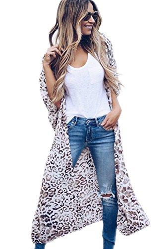 Apparel Leopard (Yonala Women's Summer Floral Print Chiffon Beachwear Top Cover up Kimono Cardigan (One Size, Leopard))