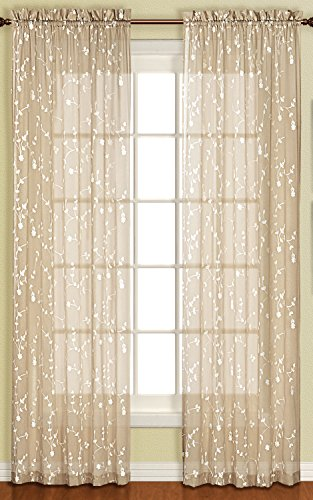 United Curtain Savannah Window Curtain Panel, 51 by 63-Inch, Taupe