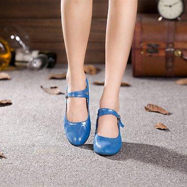 XIAMUO Anpassbare Damen Tanz Schuhe Moderne funkelnden Glitter angepasste Ferse Outdoor Schwarz/Blau, Hellblau, US5/EU 35/UK3/CN34