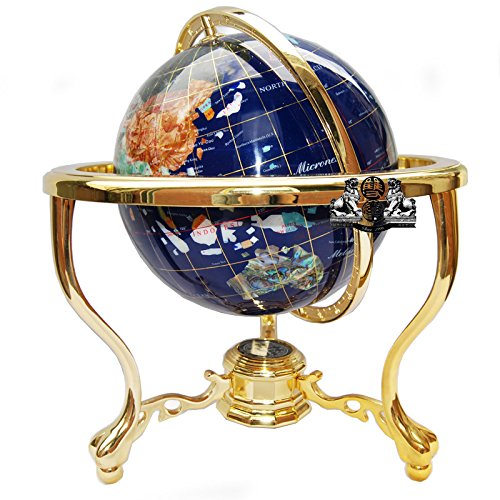 14'' BLUE LAPIS GEMSTONE GLOBE with GOLD Stand