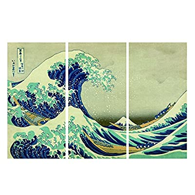 ArtWall 3-Piece The Great Wave Off Kanagawa by Katsushika Hokusai Gallery Wrapped Canvas Artwork - Artist: Katsushika Hokusai Title: The Great Wave off Kanagawa Size: 24 x 36 Type: Premium Printed Reproduction of Japanese Woodblock painting in a 3 piece set - wall-art, living-room-decor, living-room - 516ZbXfJv3L. SS400  -