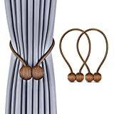 curtain tie back ideas Deluxe Magnetic Curtain Tiebacks with Unique Wooden Balls, 2 Pack Decorative Drapery Holdbacks Rope Holder for Home Kitchen Office Window Sheer Blackout Drapes, Chocolate (Brown)