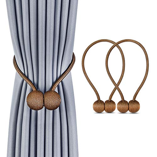 Deluxe Magnetic Curtain Tiebacks with Unique Wooden Balls, 2 Pack Decorative Drapery Holdbacks Rope Holder for Home Kitchen Office Window Sheer Blackout Drapes, Chocolate (Brown)