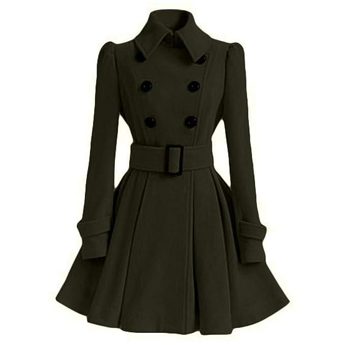 quality design 28eb4 60a7a Cappotto Donna Elegante CLOOM,Inverno Caldo Cappotto di Lana delle Donne  Giacca Trench Parka Cintura Soprabito Outwear Autunno Giacca Invernale ...
