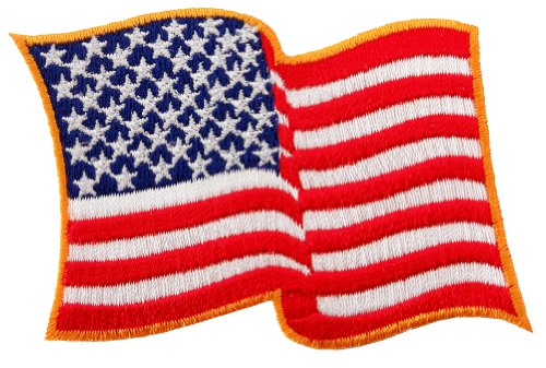 (American Flag Embroidered Patch Waving USA United States of America Iron-On)